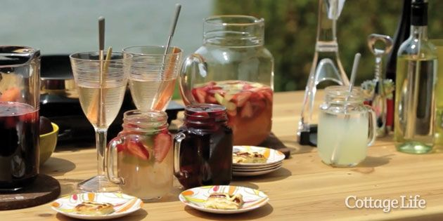 Rhubarb simple syrup is a great addition to a whole host of cocktails.  Kitchen Expert Anna Olson shows you how to kick up your cottage cocktail game with Canadian-inspired twists on the classic Sangria and French 75. http://bit.ly/1spZ8r8