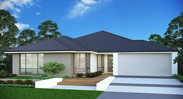 'The Atlantic' elevation. A 17m frontage home with four bedrooms and two bathrooms. Highlights include an alfresco, theatre, activity room, office and his'n'hers walk-in robes in the rear master suite. #elevation #facade #house #smarthomesforliving