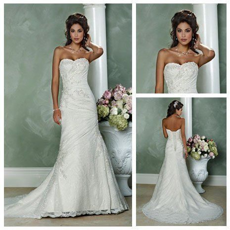 vintage style short train best selling white lace country wedding dresses 2012 17999