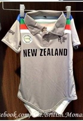Prince George's New Zealand World Cup Cricket Onesie that The Duke and Duchess of Cambridge received in Christchurch, NZ  14/4/14