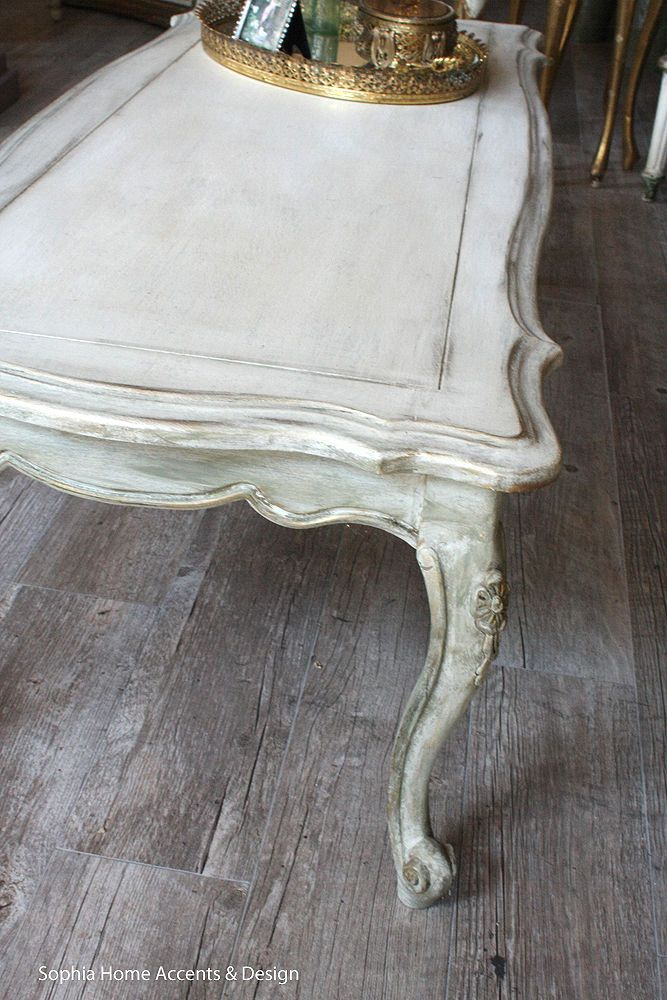 Shabby Chic Vintage French Style Painted Coffee Table Wooden Antiqued Furniture…