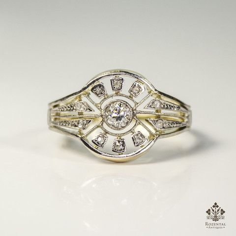Antique Art Deco 18k Gold Diamond Ring – Rozental Antiques
