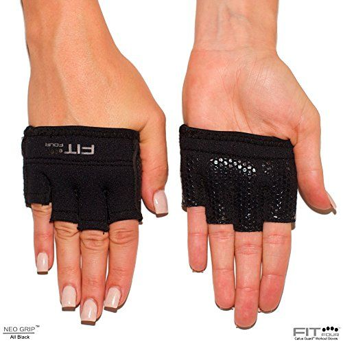 The Gripper Glove | Callus Guard Fitness Gloves by Fit Four for Weightlifting & Cross Training Athletes- Silicone Grip Palm (Black, X-Small)