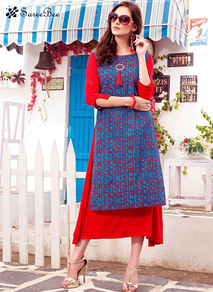 Breathtaking Cotton Party Wear Kurti  Style and pattern would be at the peak of your splendor when you attire this blue and red cotton party wear kurti. The lovely print work throughout the dress is awe inspiring.