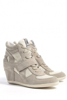 clay bowie suede and canvas wedge trainers by Ash