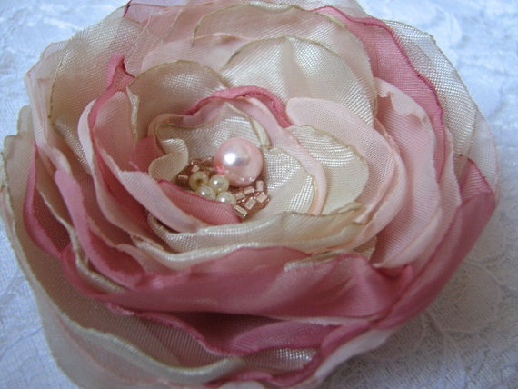 Pastel flower Brooch pastel flower Pink with by AtelierAppasionata, $15.00