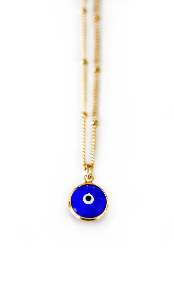 BLACK evil eye necklace by keijewelry on Etsy