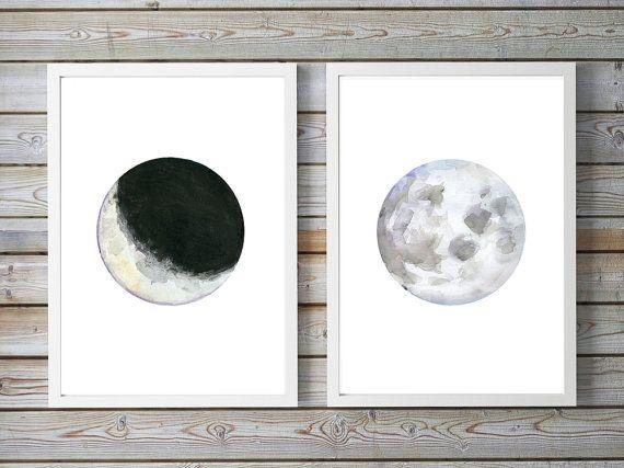 Maan Kunst  set van 2 prints  Maan schilderij  Maan door Zendrawing