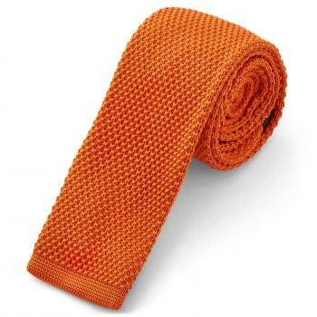 Cravatta arancio lavorata a maglia