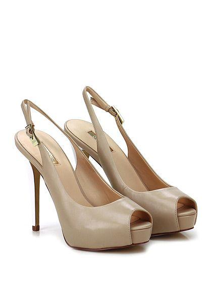 GUESS - Scarpa con tacco - Donna - Scarpa con tacco open toe in pelle con cinturino su retro e suola in gomma. Tacco 120, platform 20 con battuta 100. - NUDE\WHITE - € 140.00