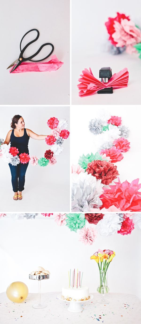 DIY Tissue Paper Flower Garland #paper #flower #garland #party