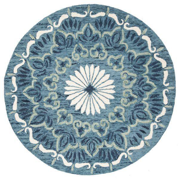 Round Hickman Oriental Hand Tufted Wool Blue Ivory Area Rug Round Area Rugs Handmade Novelty Area Rug Sets