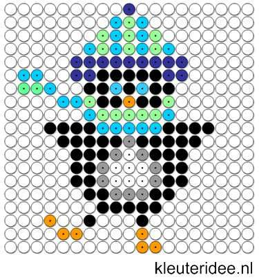 Kralenplank pinguin 5, kleuteridee.nl , thema Noordpool & Zuidpool  , free printable  Beads patterns preschool.