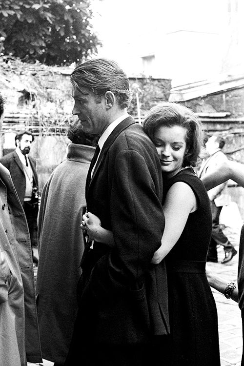 Peter O'Toole and Romy Schneider on the set of What's New Pussycat?, 1965.