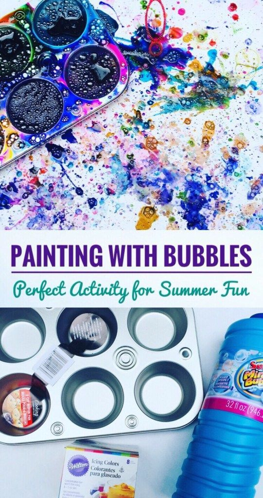Painting With Bubbles is super fun! Perfect Summer Activity for kids! #summer #summerfun #bored #kidsactivities #kids #bubble