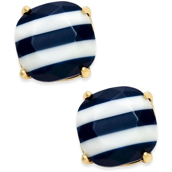 kate spade new york 14k Gold-Plated Nautical Striped Stud Earrings ($38) ❤ liked on Polyvore featuring jewelry, earrings, navy, 14k earrings, stud earrings, 14 karat gold jewelry, gold plated jewelry and 14k jewelry