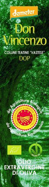 DOP Don Vincenzo, Colline Teatine Vastese Olivenöl extra vergine Biodynamische, BIO, VeganOK