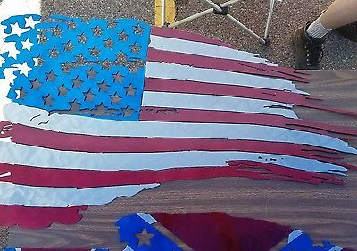 Tattered American flag wall art  college metal soldiers army navy coast guard