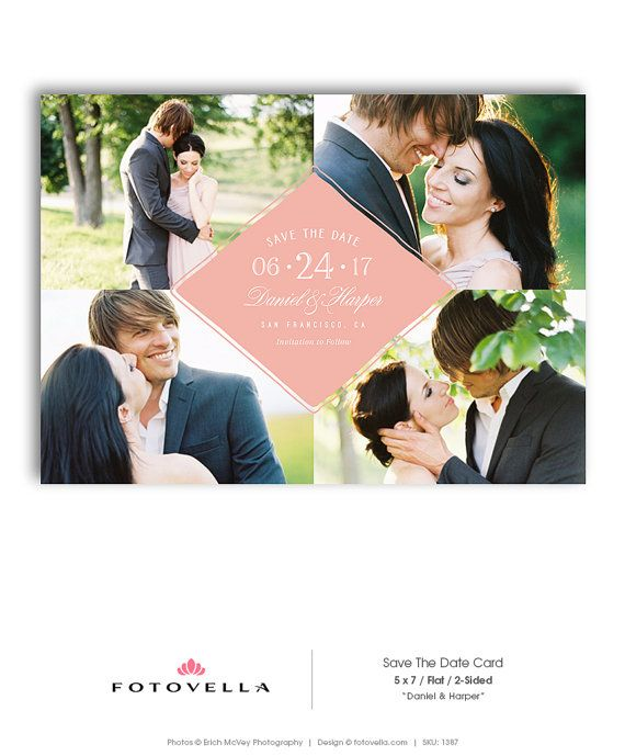 Save The Date Template  Wedding Announcement Card by FOTOVELLA