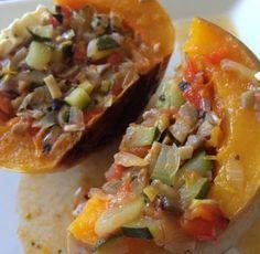 Calabaza rellena con verduras