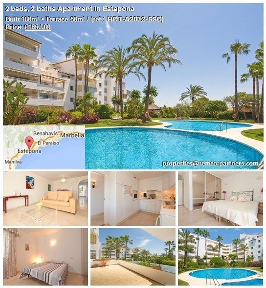 2 beds, 2 baths Apartment in Estepona Originally listed for €220,000, recently reduced to €185,000 for a quick sale.Boasting the prime position with unspoilt views to the Mediterranean sea from the south facing terraces, with 24 hour reception, is this spacious apartment.The urbanization offers games room, jacuzzi, bridge room and sauna. It comes complete with parking and store Distance to nearest bar/restaurant:5 min. walk, nearest beach: 10 min. walk.More details…