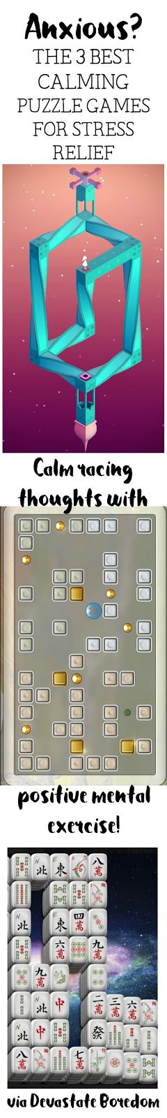 Playing my way to less stress?  Yes please!  Optical Illusion game looks especially cool...  Best 3 Relaxing Puzzle Game Apps to Distract You When You're Stressed or Anxious - Calming Mental Exercise on your Phone! via Devastate Boredom