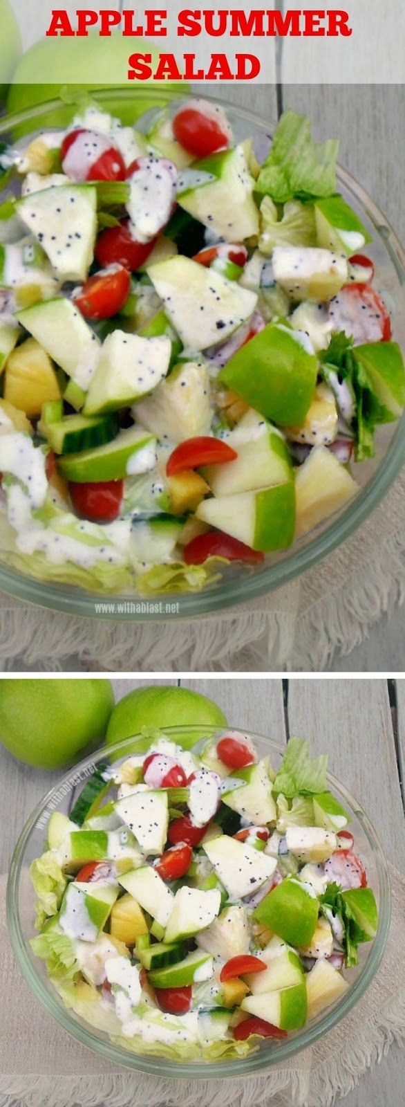 Delicious Summer salad with Apple, Pineapple and more ~ drizzled with a light Poppy Seed dressing