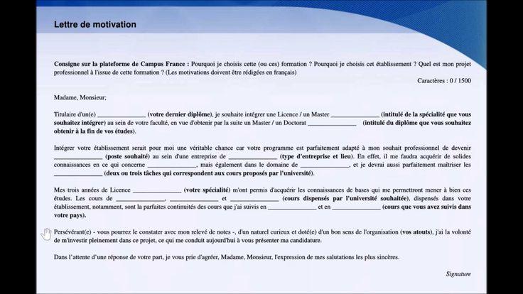 【Procédure Campus France】 Projet d'études et lettre(s) de motivation (Tu...