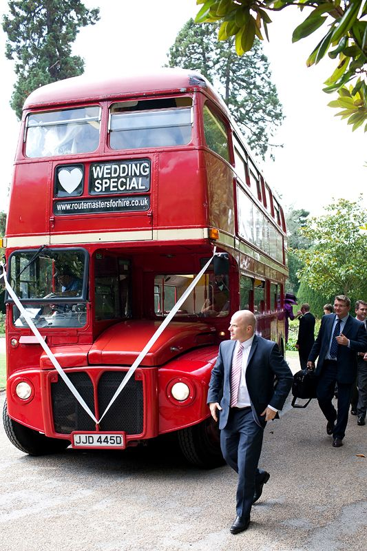 Double decker red wedding bus