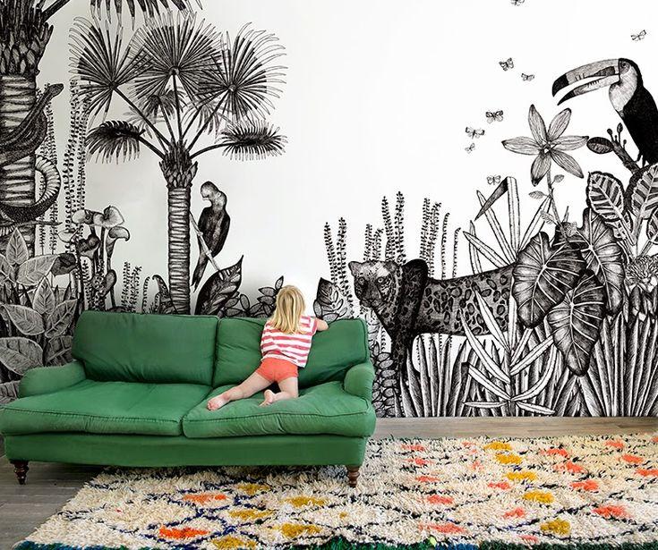 Papier peint ambiance tropicale. Jungle et animaux.