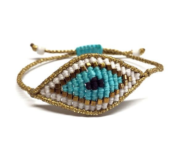 Gold and turquoise macrame eye bracelet by CrazyIreneCreations