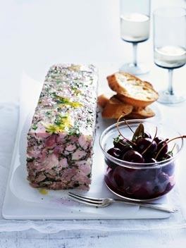 Pork and parsley terrine with pickled cherries...are you serious? Look at this mess! I don't know what it is but I am pretty sure I am allergic to it!