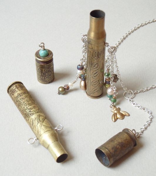 """Amulet For Peace Class (etched bullet casings made into jewelry) @  """"Art Unraveled""""!"""