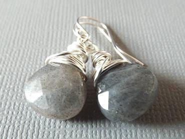 Labradorite Earrings Gray Stone Earrings Grey by PepperandPomme