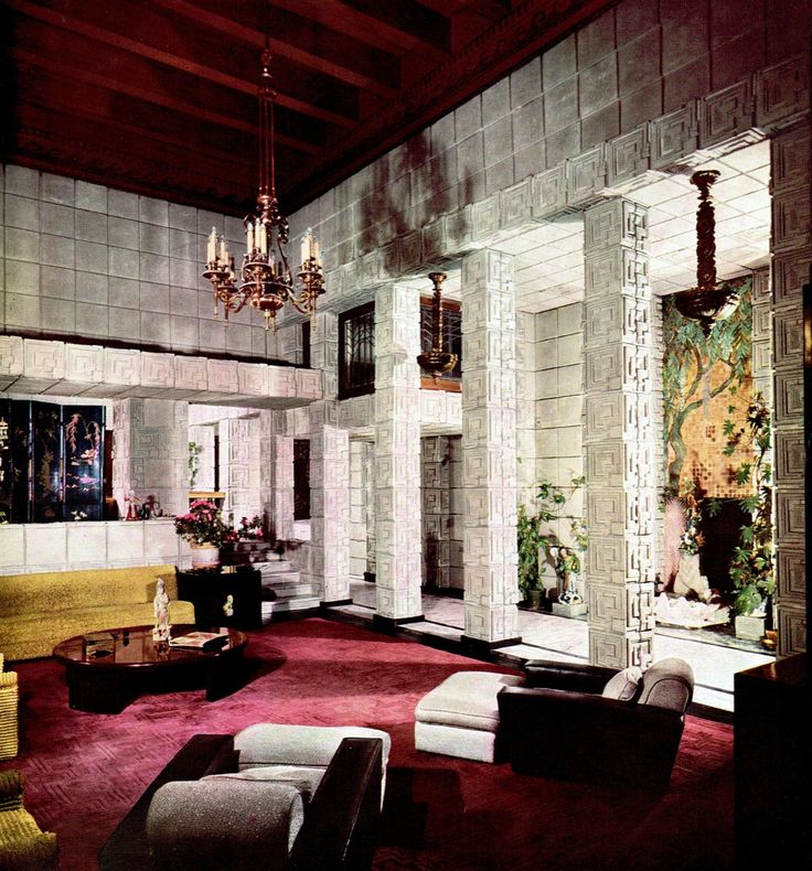 The Ennis House Designed By Frank Lloyd Wright Los Angeles 1924 Brown HouseLiving Room