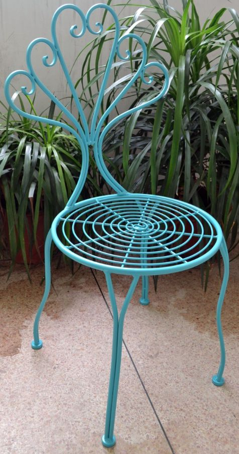 Wilson Iron Blue Chair - $100RRP AUD - These funky iron chairs are both functional and beautiful. The intricate cut out pattern work gives this #chair a sharp and stylish finish. #ironchair #furniture #bluechair