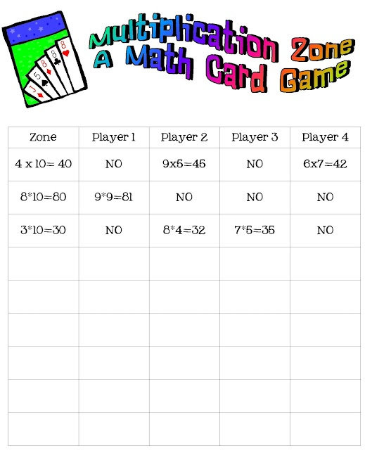 multiplication card game for centers