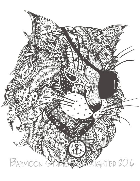 Pirate Kitty Adult Coloring Page Cat Coloring Page