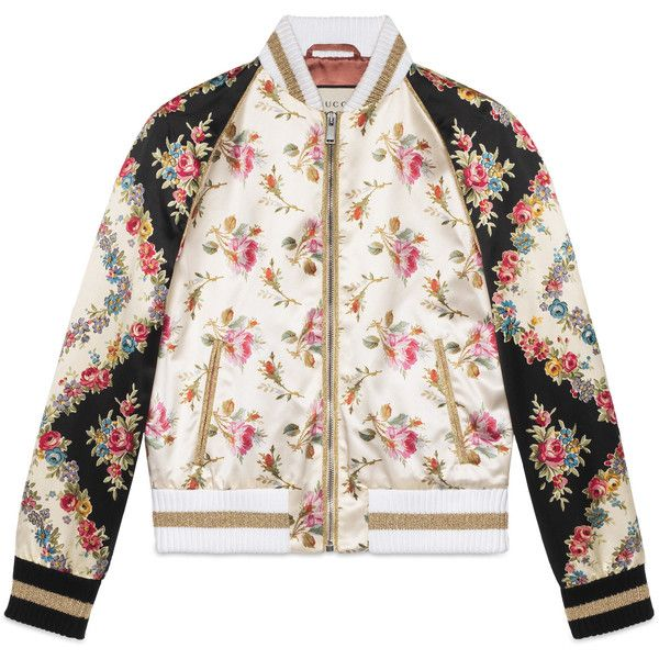 Gucci Rose Print Silk Bomber Jacket ($3,400) ❤ liked on Polyvore featuring outerwear, jackets, leather & casual jackets, ready-to-wear, rose, women, white jacket, flight jackets, blouson jacket and bomber style jacket
