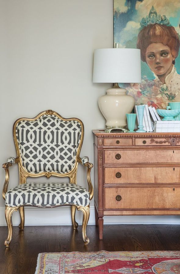 an antique French chair which was recovered in the very popular but still fabulous imperial trellis pattern in charcoal and ivory