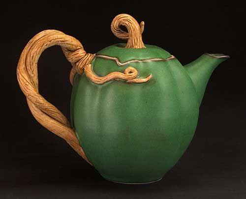 Acorn squash teapot.Clay Teapots, Ceramic Teapot, Teas Time, Acorn Squashes, Squashes Teapots, Teas Pots, Pottery Teapots, Teas Parties, Teapots Vines