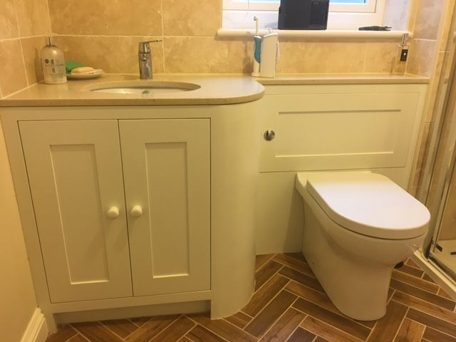 Downstairs cloak room, fitted sink storage unit. Made to measure can make help make the most of the smallest of spaces. By Rowood, Handmade Kitchens and Joinery Ltd