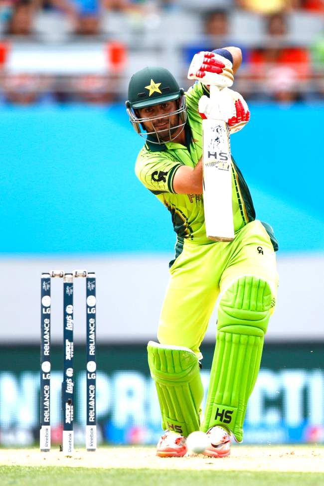 AUCKLAND, NEW ZEALAND - MARCH 07: Ahmed Shehzad of Pakistan bats during the 2015 ICC Cricket World Cup match between South Africa and Pakistan at Eden Park on March 7, 2015 in Auckland, New Zealand.