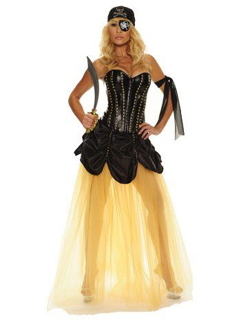 Gold Tulle Studded Pirate Costume - MEDIUM  - Click image twice for more info - See a larger selection womens  pirate costume at  http://costumeriver.com/product-category/womens-pirate-costume/ - womens, holiday costume , event costume , halloween costume, cosplay costume, classic costume, scary costume, pirate, classic costume, clothing