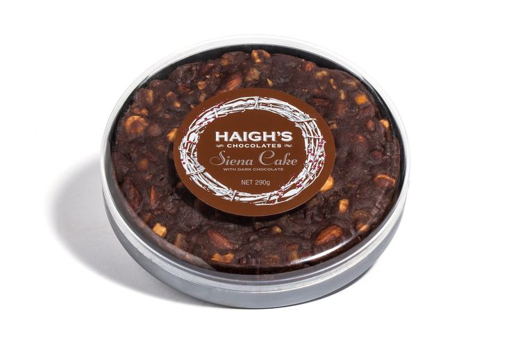 Haigh's Chocolates – Siena Cake With Chocolate  A richly spiced traditional Italian style fruit cake with 70% dark chocolate in a clear gift box.  #Haighs #Christmas #Gift