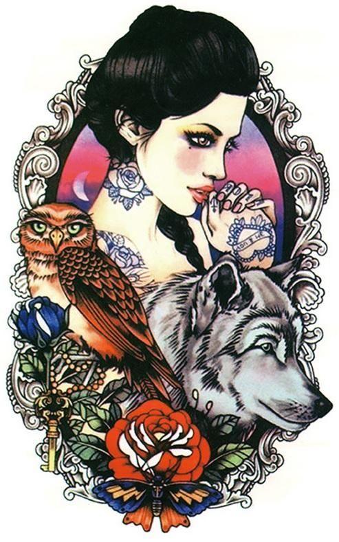 волк тату руку стикер водонепроницаемый леди красоты моделирования ретро сова волк тотем наклейки