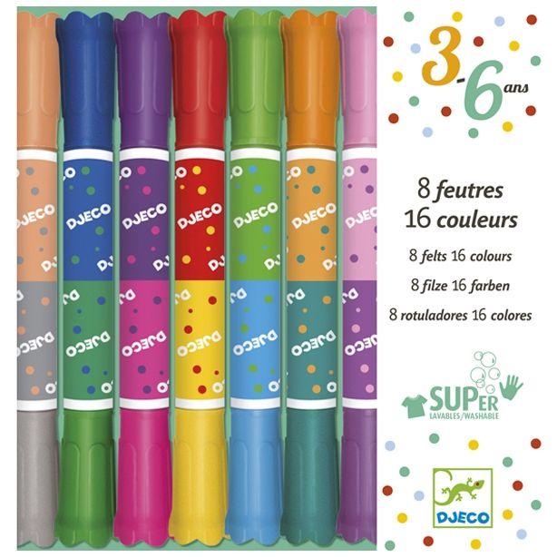 Duplavégű kimosható filctoll 8 db Djeco Twins washable markers | Pandatanoda.hu Játék webáruház