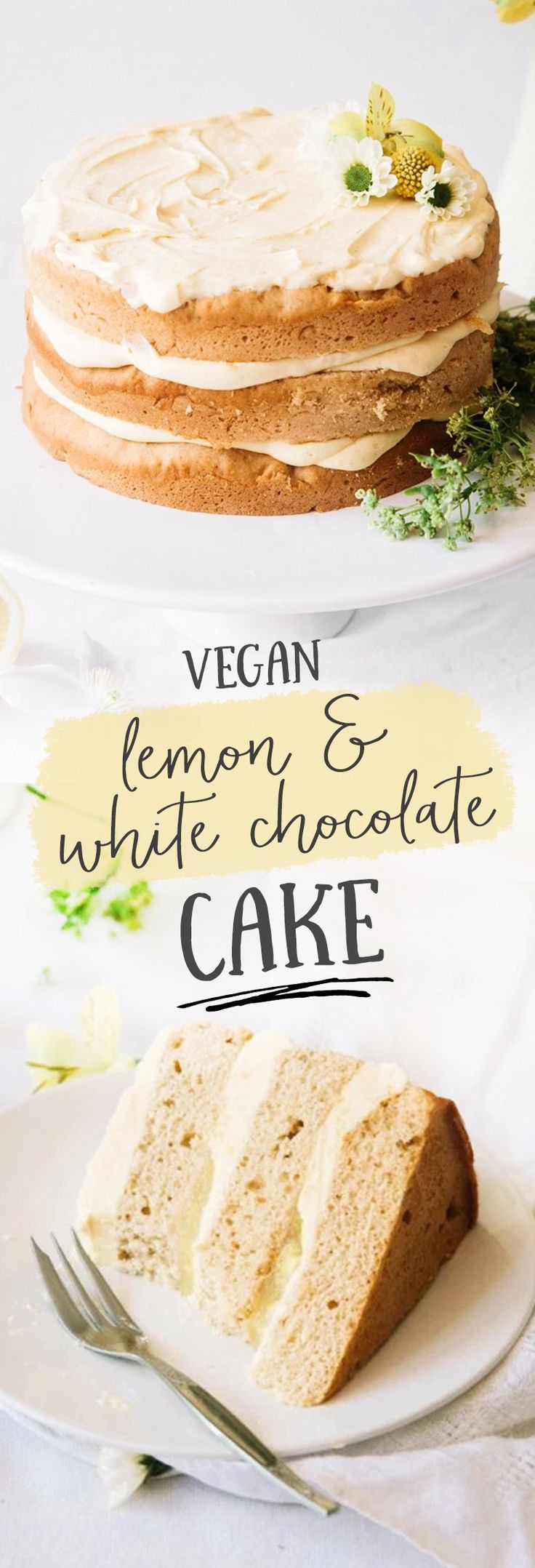 Vegan Elderflower Cake with Lemon Curd & White Chocolate Frosting