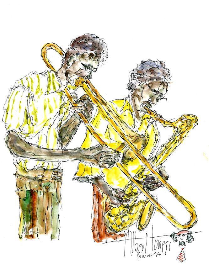 Black trombone, monotone....