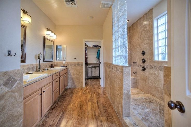 Traditional Master Bathroom with Inset cabinets, Ms international tuscany walnut 4x4 tumbled travertine tile, Raised panel